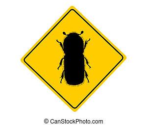 corteccia, avvertimento, scarabeo, segno