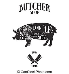 cortes, esquema, cerdo, carnicero