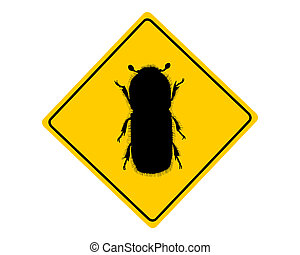 corteza, advertencia, escarabajo, señal