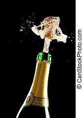 cortiça, explodindo, garrafa champanha, saída