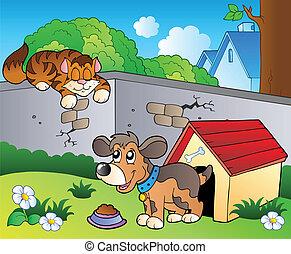 cortile posteriore, con, cartone animato, gatto, e, cane