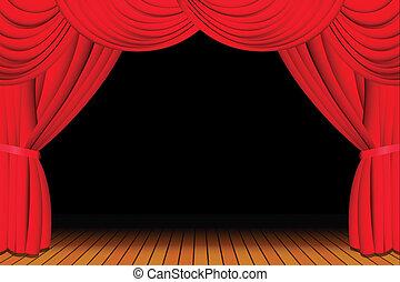 cortina, aberta, vermelho, fase