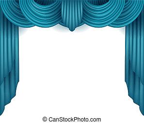 cortina, atrás de, fundo branco