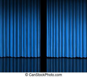 cortina azul, atrás