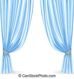 cortina azul, branca, isolado, fundo