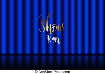 cortina azul, fase, em, a, teatro