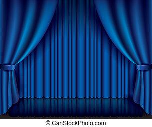 cortina azul, vector, ilustración