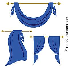 cortina azul, vindima, vetorial, jogo, branco, fundo