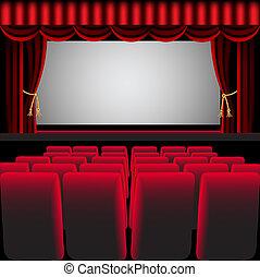 cortina, cadeira, corredor, cinema, vermelho, fácil