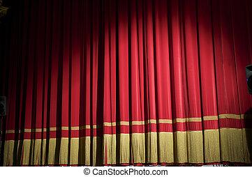 cortina, cerrado, rojo