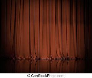 cortina, cortinas, o, plano de fondo, marrón
