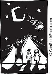 cortina, crianças