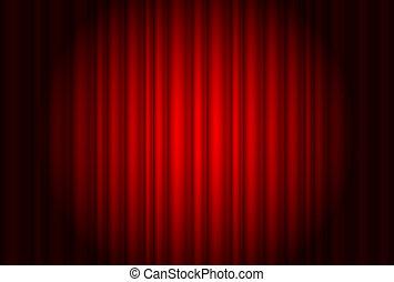cortina, de, a, teatro, com, um, holofote