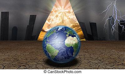 cortina, de, dystopic, mundo, abre, a, revelar, un, shinning, cruz, y, otro, mundo