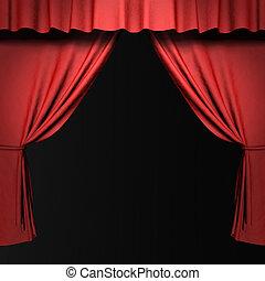 cortina, etapa, proyectores, rojo, 3d