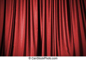 cortina, experiência vermelha, fase