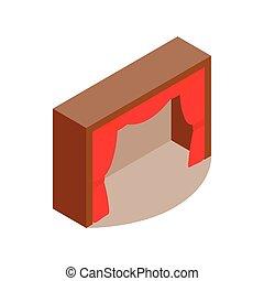 cortina, fase, teatro, vermelho, ícone