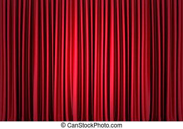 cortina, imagen, plano de fondo, rojo