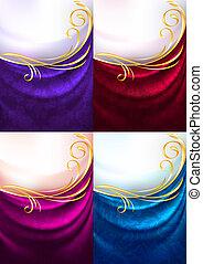 cortina, jogo, ornamento, tecido