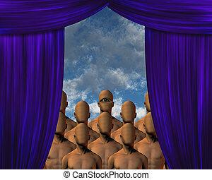 cortina, masas, faceless, atrás