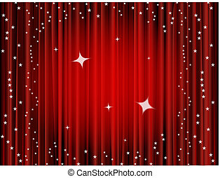 cortina, plano de fondo, teatro