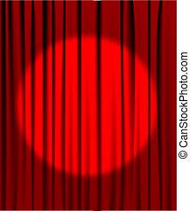 cortina, proyector, teatro