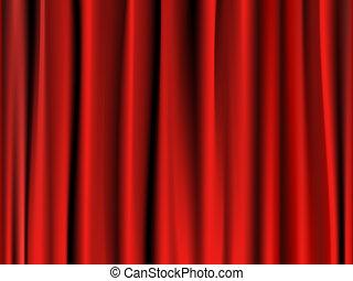 cortina, rojo, clásico