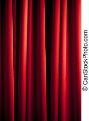 cortina, rojo, patrón
