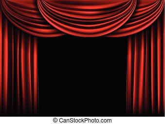 cortina, stage., plano de fondo