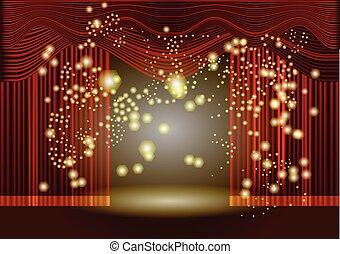 cortina, teatro, fase