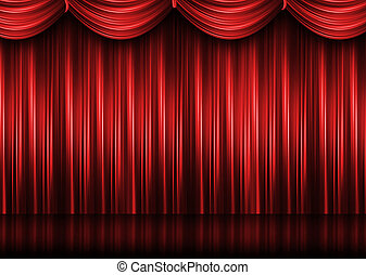 cortina, teatro, rojo