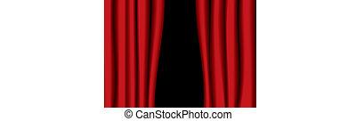 cortina, teatro, rojo, boquete