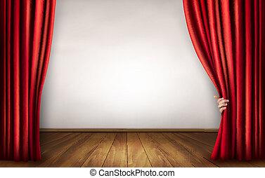 cortina, terciopelo, plano de fondo, vector, mano., rojo, ...