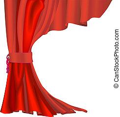 cortina, terciopelo, rojo