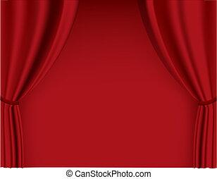 cortina, vector, rojo, theater.