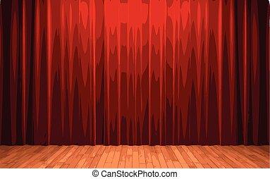 cortina, vector, terciopelo, rojo, etapa