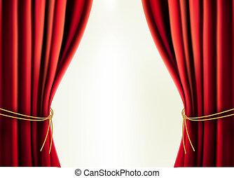 cortina, veludo, fundo, vermelho