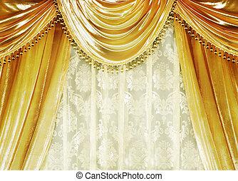 cortina, veludo, luxo