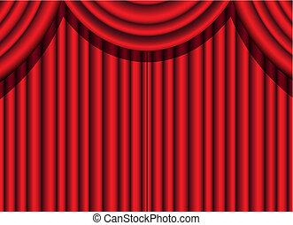 cortina, veludo, vermelho