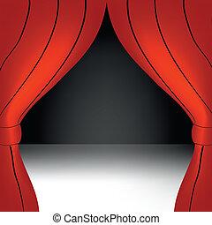 cortina vermelha, abertos