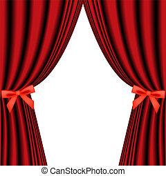 cortina vermelha, isolado, branco