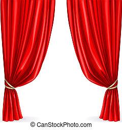 cortina vermelha, isolado, ligado, um, fundo branco