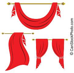 cortina vermelha, vindima, vetorial, jogo, branco, fundo