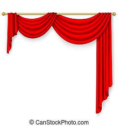 cortina, vermelho, mesh.