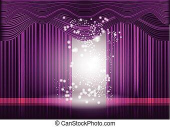 cortina, violeta, teatro, fase