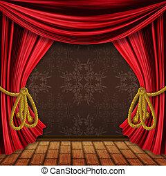 cortinas, aberta, vermelho, fase