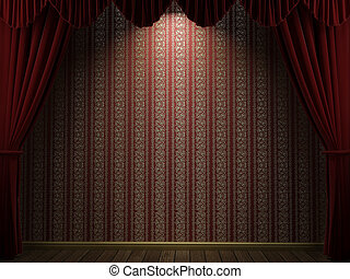 cortinas, abertos, teatro