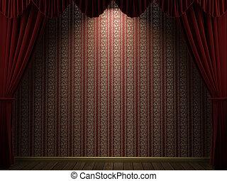 cortinas, abierto, teatro