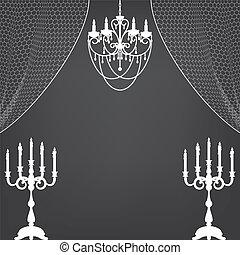 cortinas, araña de luces, candelero
