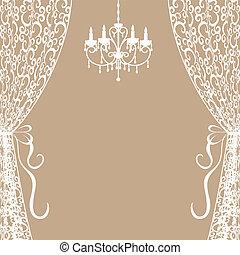cortinas, araña de luces